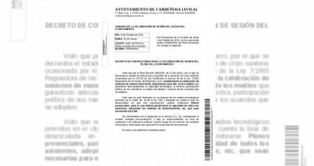 ANUNCIO DE LA CELEBRACIÓN DE SESIÓN DEL PLENO DEL AYUNTAMIENTO