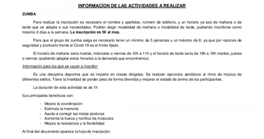 Informacion Actividades